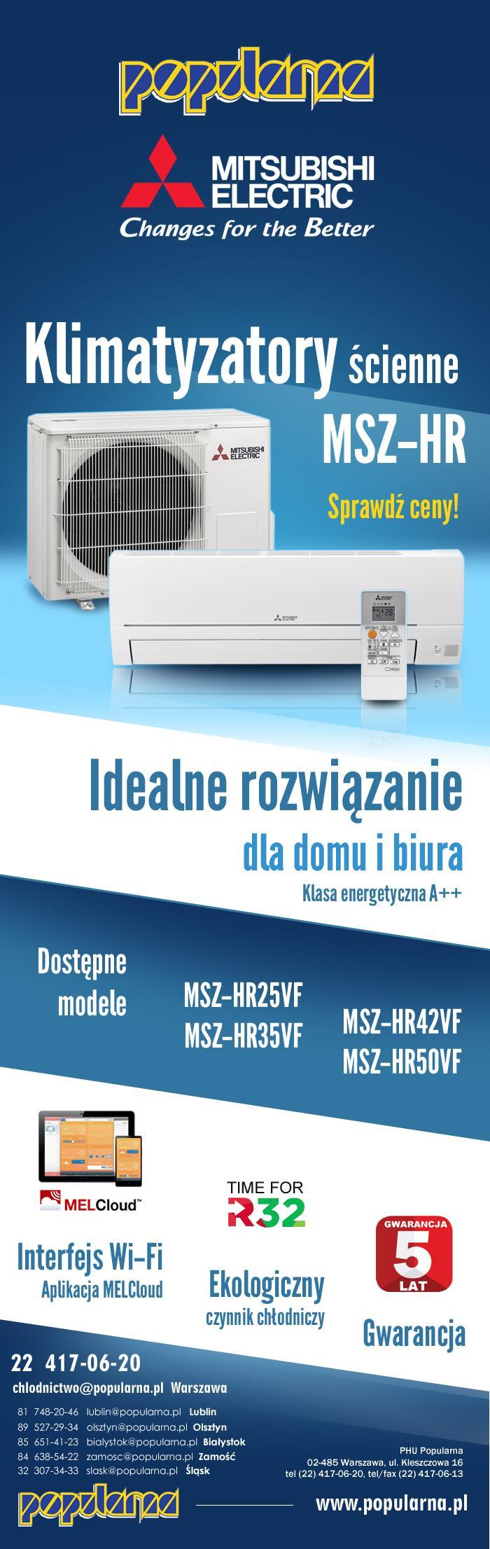 mailing 1 - Klimatyzatory MSZ-HR w POPULARNEJ